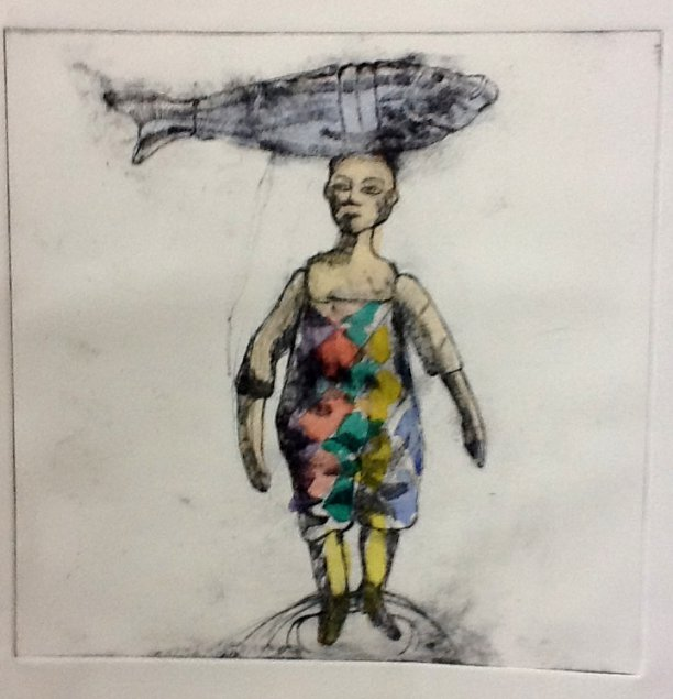 Boy with fish on his head - drypoint