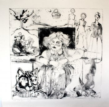 Old Women - drypoint