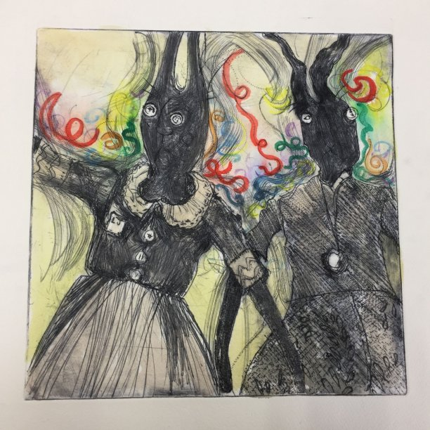 Party Frocks - hand coloured drypoint