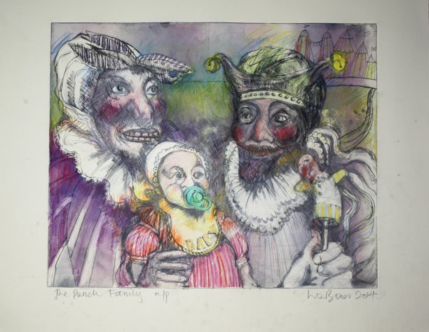 The Punch family - drypoint