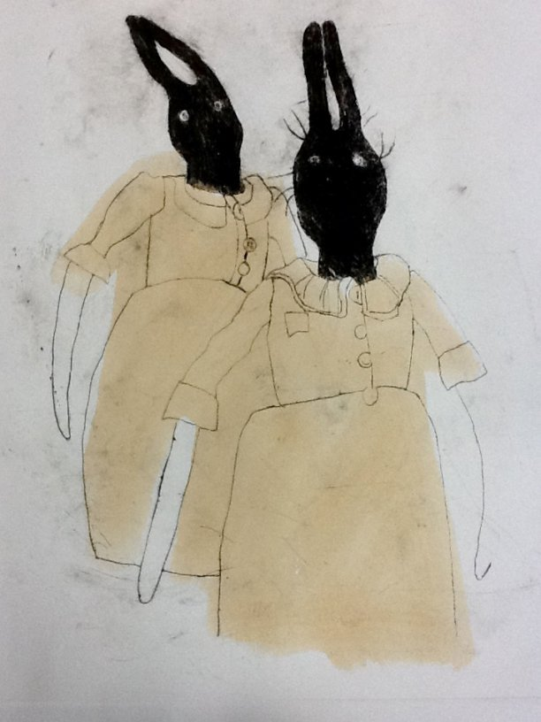 Hares in dresses - drawing